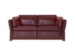 Sofá de cuero rojo Foto de archivo libre de regalías