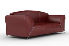Sofá de cuero rojo aislado. Un interior Fotos de archivo