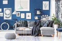 Sofá de la esquina gris en interior Fotografía de archivo libre de regalías
