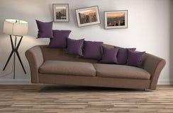 Sofá de la gravedad cero que asoma en sala de estar ilustración 3D Imagen de archivo libre de regalías