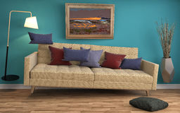 Sofá de la gravedad cero que asoma en sala de estar ilustración 3D Imagen de archivo