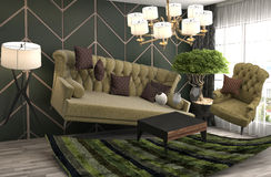 Sofá de la gravedad cero que asoma en sala de estar ilustración 3D Imagenes de archivo