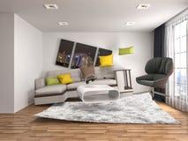Sofá de la gravedad cero que asoma en sala de estar ilustración 3D stock de ilustración