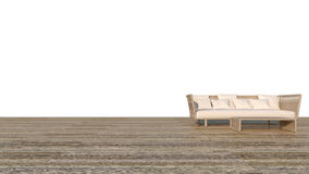 Sofá de la rota con el fondo blanco y la representación de madera piso/3D Foto de archivo libre de regalías