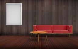 Sofá de la sala de estar y marco rojos mínimos Foto de archivo libre de regalías