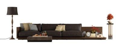 Sofá de madera con los amortiguadores de cuero aislados en blanco stock de ilustración