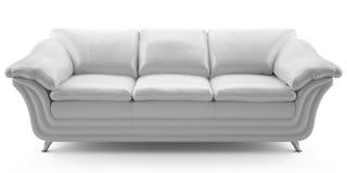 Sofá del cuero blanco Imagen de archivo libre de regalías
