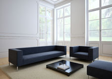 Sofá do tecido em uma sala de visitas moderna 3d Fotos de Stock