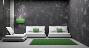 Sofá e poltrona no quarto Fotografia de Stock Royalty Free