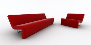 Sofá e poltrona vermelhos modernos ilustração do vetor