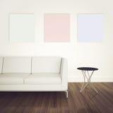 Sofá e tabela interiores modernos mínimos Imagem de Stock Royalty Free