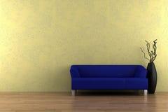 Sofá e vaso azuis na frente da parede amarela ilustração royalty free