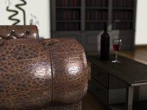 Sofá e vinho Fotografia de Stock Royalty Free