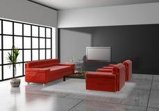 Sofá en el cuarto 3D Foto de archivo libre de regalías