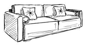 Sofá en el fondo blanco Ejemplo del vector en un estilo del bosquejo Libre Illustration