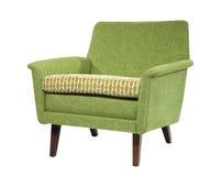 Sofá en estilo retro verde claro de los años 70 de los años 60 aislado en wh Imágenes de archivo libres de regalías