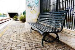 Sofá en la estación de tren Fotografía de archivo