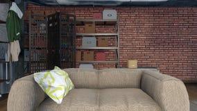 Sofá en la sala de estar moderna 3D interior del desván libre illustration