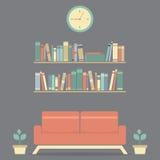 Sofá interior y estante del diseño moderno ilustración del vector