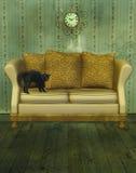 Sofá luxuoso com gato ilustração do vetor