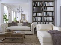 Sofá luxuoso na sala de visitas clássica com biblioteca ilustração do vetor