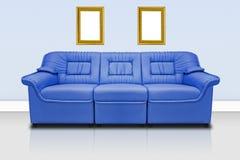 Sofá moderno azul Imagens de Stock Royalty Free