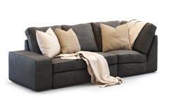 Sofá moderno de matéria têxtil com descansos do ouro 3d rendem Imagem de Stock