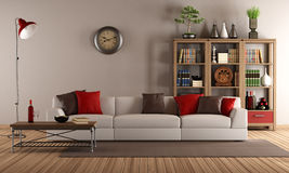 Sofá moderno en una sala de estar del vintage libre illustration
