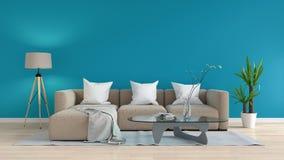 Sofá modular en la sala de estar azul, representación 3D Imagen de archivo