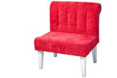 Sofá monoplaza de madera, tela tapizada del rojo, aislada Imágenes de archivo libres de regalías
