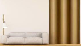 Sofá na decoração de madeira da sala de visitas - rendição 3d Imagens de Stock Royalty Free