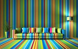 Sofá na frente de uma parede colorida ilustração stock