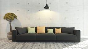 Sofá negro del paño con el muro de cemento, fondo, diseño de la plantilla Foto de archivo