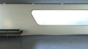 Sofá negro en copyspace de la ventana de la pared del interrior Fotos de archivo