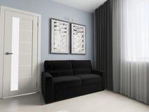 Sofá negro en interior moderno Fotografía de archivo