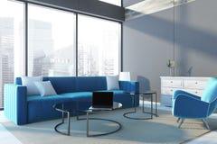 Sofá panorámico del azul de la esquina de la sala de estar del ático stock de ilustración