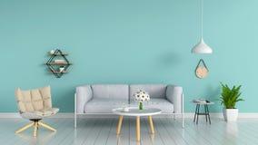 Sofá, rampa, flor, tabla, en sala de estar, representación 3D Fotografía de archivo libre de regalías