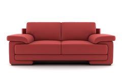 Sofá rojo aislado en blanco fotografía de archivo