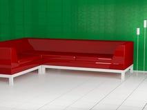 Sofá rojo en el cuarto, 3d Foto de archivo