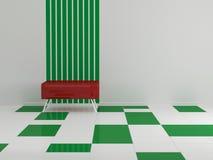Sofá rojo en el cuarto vacío Foto de archivo libre de regalías