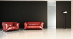 Sofá rojo para hacer frente a una pared en blanco Fotos de archivo
