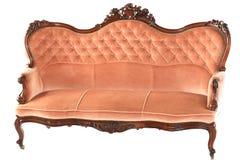 Sofá rosado de madera francés Imagen de archivo libre de regalías