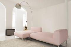 Sofá rosado en el estudio blanco de la música Imagen de archivo libre de regalías