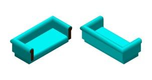 Sofá suave isométrico en diversas proyecciones Sofá para la sala de estar o el salón Ejemplo del vector del diseño de los muebles Fotografía de archivo libre de regalías