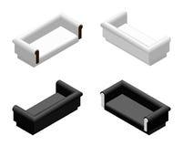 Sofá suave sometric blanco y negro en diversas proyecciones Sofá para la sala de estar o el salón Vector del diseño de los mueble Imágenes de archivo libres de regalías