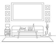 Sofá, tabla, florero con las flores Mesita de noche, lámpara de escritorio Capítulo en la pared para caber su información Bosquej ilustración del vector