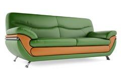 sofá verde 3D en un fondo blanco imagenes de archivo