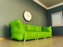 Sofá verde que se coloca en la tierra del entarimado ilustración 3D stock de ilustración