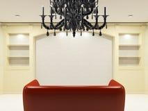 Sofá vermelho com candelabro preto ilustração stock