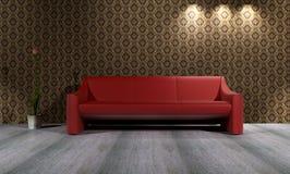 Sofá vermelho com rendição do fundo 3D do papel de parede Imagens de Stock Royalty Free
